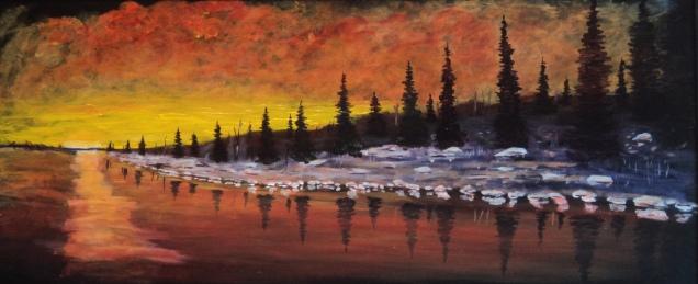 Sunset Rouge, #17085, $1500, Acrylic, 15x35