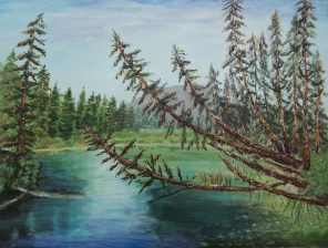 Vermilion Lakes Creek, #15045, $1200, Acrylic, 18x24
