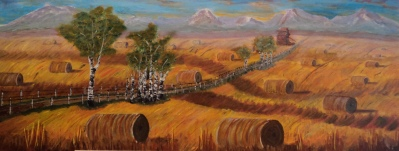 Endless Harvest, #16032, $1750, Acrylic, 16x40