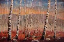 Fall Birches, #16023, $1950, Acrylic, 24x36