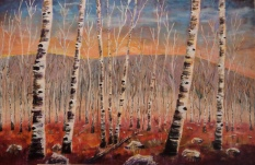 Fall Birches, #16023, $1950, Acrylic, 24x36