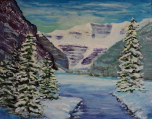 Lake Louise in Winter, #18002, $250, Acrylic, 8x10