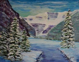Lake Louise in Winter, #18002, $250, Acrylic, 8x10