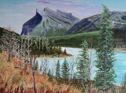 Mt. Rundle and Vermilion Lakes, #15052, $1150, Acrylic, 18x24