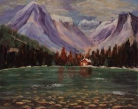 Rocky Mountain Cabin, #17082, $250, Acrylic, 8x10