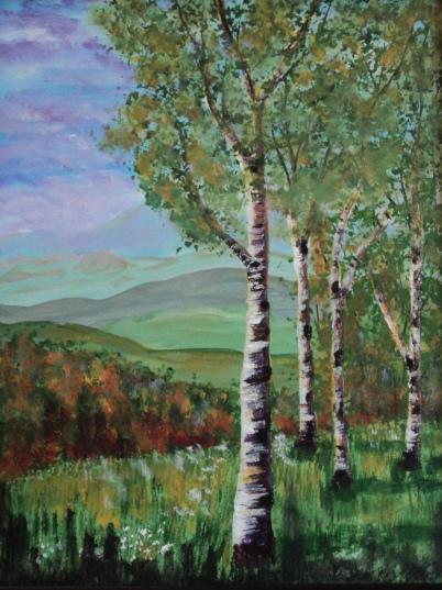 Birches Sentinel, #17014, $460, Acrylic, 11x14