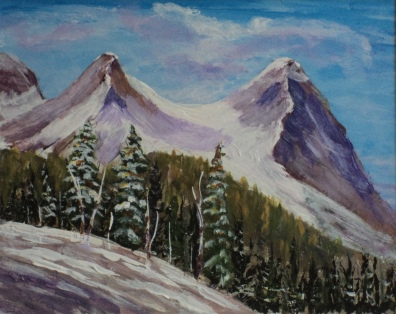 Ha Ling PeaK Canmore, #17010, $250, Acrylic, 8x10