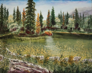 Pond at Kananaskis Lodge, #16018, $750, Acrylic, 16x20