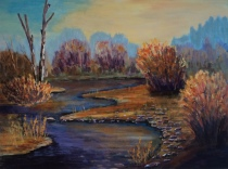 Golden Pond, #18018, $1250, Acrylic, 18x24