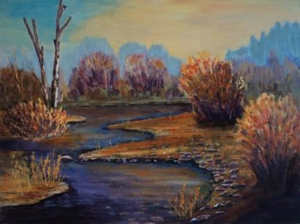 Golden Pond, #18018, $1250, Acrylic, 18x24
