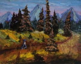 Mountain Hike, #17074, $250, Acrylic, 8x10