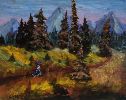 Mountain Hike, #17074, $250, Acrylic, 8x10