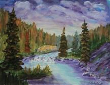 Wilderness River2, #18023, Acrylic, 7.5x9.5
