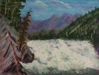 Bow Falls, Banff, #18024, $99, Acrylic, 5.5x7.5