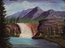 Rocky Mountain Waterfall, #18031, $540, Acrylic, 12x15