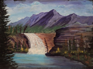 Rocky Mountain Waterfall, #18031, $540, Acrylic, 12x15