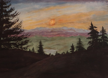 Sunset in the Rockies, #18035, $400, Acrylic, 10x14