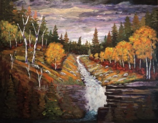 Wilderness Waterfall, #18034, $2900, Acrylic, 30x38