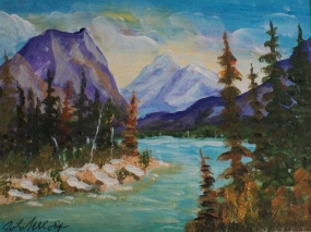 Banff, Bow River, #18043, $125, Acrylic, 5.5x7.5