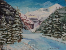 Lake Louise in Winter, #18040, $250, Acrylic, 8x10