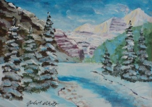 Lake Louise in Winter, #18041, $125, Acrylic, 5x7