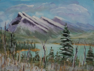 Mount Rundle Gathering Snow, $18033, $150, Acrylic, 8.5x6.5