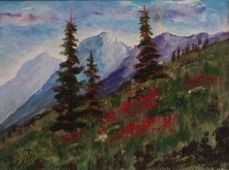 Sunshine Meadow, #18044, $125. Acrylic, 5.5x7.5