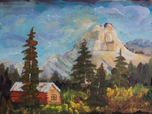 Mountain Mansion, #18054, $125. Acrylic, 6x7