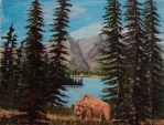 grizzly at forget-me-not pond, #17066, $460, acrylic, 11x14