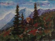grizzly at sunshine meadow, #19006, $125, acrylic, 5.5x7.5