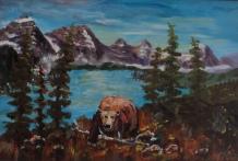 marauder at moraine, #19005, $350, acrylic, 9x13