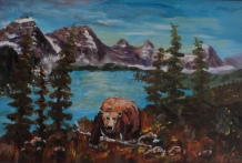 marauder at moraine, #19005, $350, acrylic, 9x13