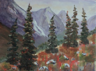 mountain wilderness, #19004, $250, acrylic, 8x10