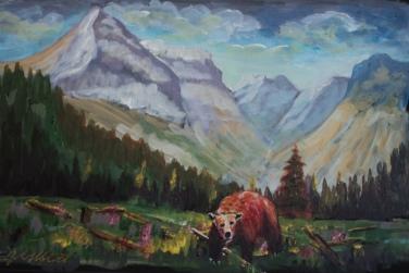 rocky mountain grizzly, #18053, $350, acrylic, 9x13