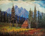 rocky mountain mansion, #18011, $950, acrylic, 16x20