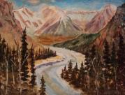 the million dollar view, banff fairmont, #19001, $460, acrylic, 11x14