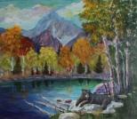 Basking, #17079, $800, Acrylic, 16x18