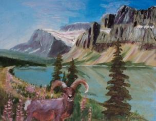 Big Horn at Bow Lake, #15066, $250, Acrylic, 8x10