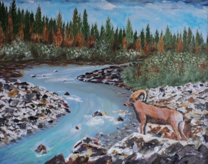 Big Horn on the Kananaskis, #16017, $950, Acrylic, 16x20