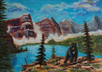 Blackie at Moraine Lake, #19009, $425, Acrylic, 14x10