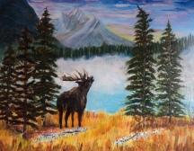 Emerald Lake Moose, #15062, $750, Acrylic, 14x18