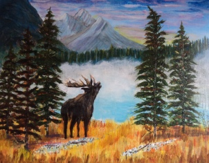 Emerald Lake Moose, #15062, $750, Acrylic, 14x18