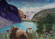 Lake Louise, #17039, $99, Acrylic, 4.5x6.5