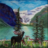 Moose at Lake Louise, #17052, $300, Acrylic, 10x10
