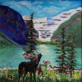 Moose at Lake Louise, #17052, $300, Acrylic, 10x10