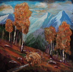 Rocky Mountain Grizzly, #18004, $495, Acrylic, 13x13