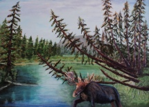 Visitor to Vermillion Lakes Creek, #15045, $1300, Acrylic, 18x24