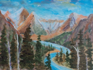 Million Dollar View, Banff Springs Fairmont, #19010, $150, Acrylic, 6x8
