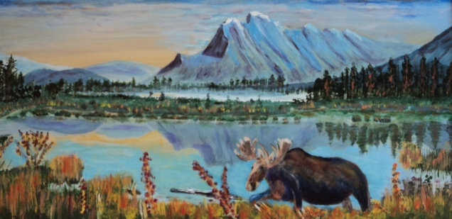 Visitor to Rundle, #14010, $600, Acrylic, 10z20