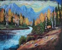 Wild Waters of the Rockies, #18012, $950. Acrylic, 16x20